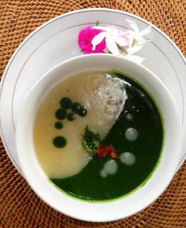 Potato-spinach soup, Sidemen, Bali