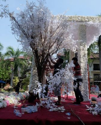 Beautiful kitch, getting ready for an engagement party at Novotel, Surabaya