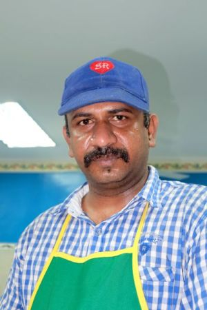 Employee at the Indian Banana leaf place