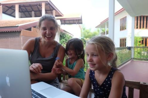 Ella skyping with her classmates back home