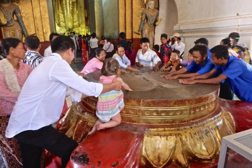 Touch the impressions of Buddha's feet!